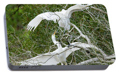 Portable Battery Charger featuring the photograph Egret Rumble by George Randy Bass