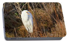 Portable Battery Charger featuring the photograph Egret With Something To Say by George Randy Bass
