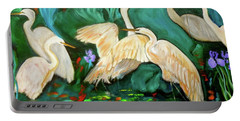 Egrets On Lotus Pond Portable Battery Charger by Jenny Lee