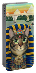 Portable Battery Charger featuring the painting Egyptian Pharaoh Cat - King Of Pentacles by Carrie Hawks