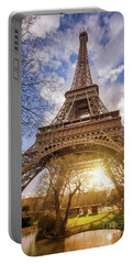 Eiffel Sunset Portable Battery Charger by Delphimages Photo Creations