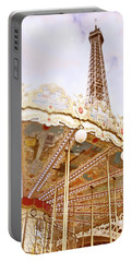 Portable Battery Charger featuring the photograph Eiffel Tower And Carousel by Ivy Ho