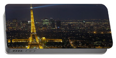 Eiffel Tower At Night Portable Battery Charger by Sebastian Musial
