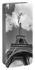 Eiffel Tower - Black And White Portable Battery Charger