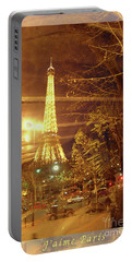 Eiffel Tower By Bus Tour Greeting Card Poster Portable Battery Charger by Felipe Adan Lerma