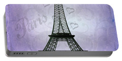 Eiffel Tower Collage Purple Portable Battery Charger by Jim And Emily Bush