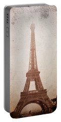 Portable Battery Charger featuring the digital art Eiffel Tower In The Mist by Christina Lihani