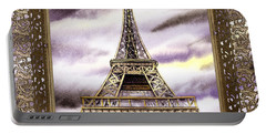 Portable Battery Charger featuring the painting Eiffel Tower Laces Iv  by Irina Sztukowski