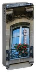 Eiffel Tower Paris Apartment Reflection Portable Battery Charger by Mike Reid