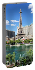 Eiffel Tower Paris Casino In Front Of The Bellagio Fountains Portable Battery Charger