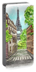 Portable Battery Charger featuring the painting Eiffel Tower Summer Paris Day by Irina Sztukowski