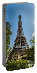 Eiffel Tower Through Trees Portable Battery Charger