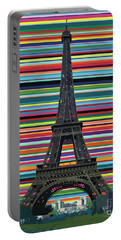 Portable Battery Charger featuring the painting Eiffel Tower With Lines by Carla Bank