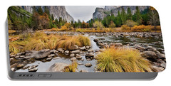 El Capitan And The Merced River In The Fall Portable Battery Charger