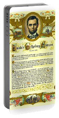 Portable Battery Charger featuring the painting Elaborate Victorian Gettysburg Address Illuminated Manuscript With Lincoln Portrait by Peter Gumaer Ogden