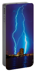 Electric Blue Portable Battery Charger by Quinn Sedam