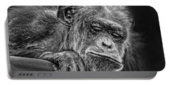 Elderly Chimp Watching The Action Below Portable Battery Charger by Jim Fitzpatrick