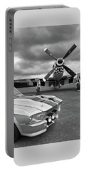 Eleanor Mustang With P51 Black And White Portable Battery Charger