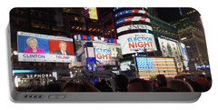 Election Night In Times Square 2016 Portable Battery Charger by Melinda Saminski