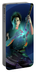 Portable Battery Charger featuring the digital art Electric Blue by Shadowlea Is