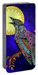 Portable Battery Charger featuring the drawing Electric Crow by Tammy Wetzel