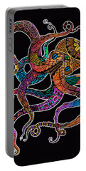Electric Octopus On Black Portable Battery Charger by Tammy Wetzel