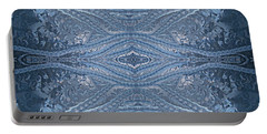Portable Battery Charger featuring the photograph Elegant Blues Frosty Window Design by Joy Nichols