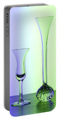 Elegant Crystal Glass Curves In Blue And Green Portable Battery Charger