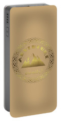 Portable Battery Charger featuring the digital art Elegant Gold Foil Adventure Awaits Typography Celtic Knot by Georgeta Blanaru