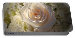 Elegant White Roses Portable Battery Charger by Cynthia Guinn