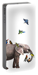 Elephant With Birds Illustration Portable Battery Charger