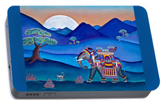 Portable Battery Charger featuring the painting Elephant And Monkey Stroll by Lori Miller
