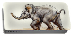 Elephant Baby At Play Portable Battery Charger by Margaret Stockdale