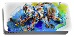 Elephant Calf Playing With Butterfly Portable Battery Charger