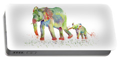 Elephant Family Watercolor  Portable Battery Charger