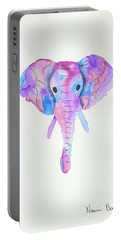 Elephant Head In Watercolour  Portable Battery Charger