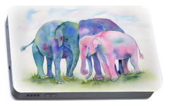 Elephant Hug Portable Battery Charger by Amy Kirkpatrick