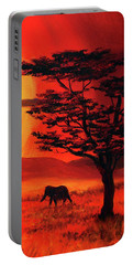 Elephant In A Bright Sunset Portable Battery Charger
