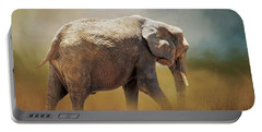 Portable Battery Charger featuring the photograph Elephant In The Mist by David and Carol Kelly