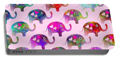 Elephant Party Portable Battery Charger by Kathleen Sartoris