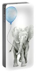 Elephant Watercolor Blue Nursery Art Portable Battery Charger
