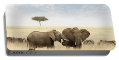 Elephants And Zebras In The Grasslands Of The Masai Mara Portable Battery Charger