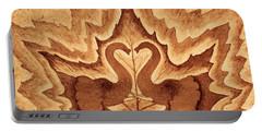 Elephants Love Original Coffee Painting Portable Battery Charger by Georgeta Blanaru