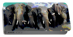 Elephants On The Move Portable Battery Charger by Charles Shoup