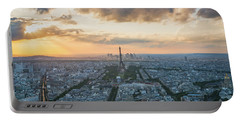 Elevated View Of Paris At Sunset Portable Battery Charger