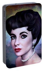 Portable Battery Charger featuring the painting Elizabeth  by Andrzej Szczerski