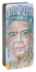 Portable Battery Charger featuring the painting Elizabeth II - Watercolor Portrait.2 by Fabrizio Cassetta