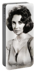 Elizabeth Taylor, Vintage Hollywood Legend By John Springfield Portable Battery Charger by John Springfield