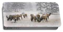 Elk In A Snow Storm - 1135 Portable Battery Charger