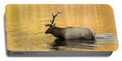 Elk In Golden River Portable Battery Charger